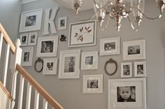 wall displays: Get those photos off your hard drive LOVE LOVE LOVE! Black & white pictures in white frames with white mats. This is perfect! Black & white pictures in white frames with white mats. This is perfect! Wall Collage, Frames On Wall, White Frames, Collage Ideas, Picture Arrangements, Photo Arrangement, Stair Walls, Stairs, Room Decor