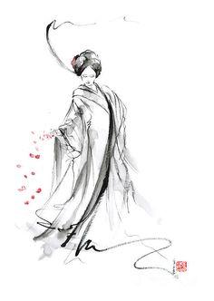 Geisha With Cherry Blossom Flower Canvas Print / Canvas Art by Mariusz Szmerdt