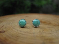 Green Kingman Turquoise Sterling Silver Stud Post Earrings () by MaribelleCampa