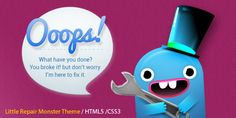 Little Repair Monster - Responsive 404 Template   http://themeforest.net/item/little-repair-monster-responsive-404-template/7364511?ref=damiamio       Little Repair Monster Template is funny and great looking HTML5 error template that allow to keep users informed, till website is repaired. PSD file is fully layered and layers are well named and organized within folders to make them easily accessible and use. Features   Amazing & Unique Responsive 404 Page  Clean and modern  HTML5 & CSS3…