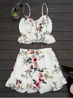 Floral Print Ruffled Cami Two Piece Set - FLORAL M