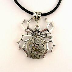 Steampunk Goth spider pendant, black widow, tarantula, mechanical watch movement