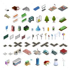 City Map Constructor Isometric Elements Collection