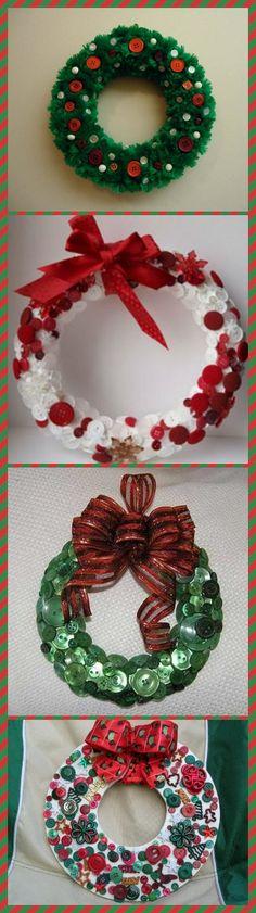 Рождественские венки из пуговиц