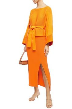 Shop Mara Hoffman Leon Ribbed Organic Cotton Midi Pencil Skirt In Orange from stores. Pencil skirt Ribbed-knit Elasticated waist Slips on Two front slits Mid-weight knit Dry clean Imported Orange Pencil Skirts, Mara Hoffman, World Of Fashion, Luxury Branding, Peplum Dress, Organic Cotton, Clothes For Women, Knitting, Shopping