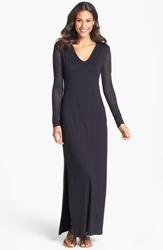 Three Dots Lace Sleeve Jersey Maxi Dress available at #Nordstrom wrong color but good pattern style