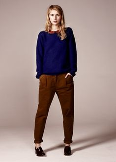 Chinti and Parker - Baby Cord Skirt - FW/2013 - Asymmetric Grandad Sweater