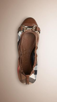 Dark tan Buckle Detail House Check Ballerinas - Image 1
