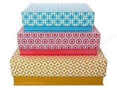 Lily McGee Nesting Box Rectangular Flip Top Set of 3 Geometrics