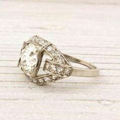 Vintage 1.56 carat old european cut diamond engagement ring