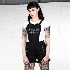 Photo of Heartless Dungarees Overalls Fashion, Overalls Outfit, Fashion Outfits, Fashion Clothes, Dark Fashion, Grunge Fashion, Retro Fashion, Black Denim Dungarees, Cute Goth