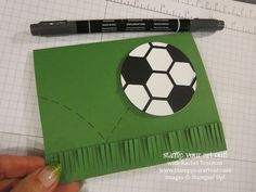 "The Hexagon Hive Thinlit, the 2-1/2"" Circle punch and the Fringe Scissors can make a fabulous soccer card! - Stampin' Up!® - Stamp Your Art ..."