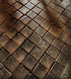 Cobblestone Wood Floor. Would make a great outdoor/patio flooring.