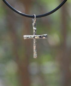 Handmade Hammered Sterling Silver Cross by OakTreeJewelers on Etsy, $30.00