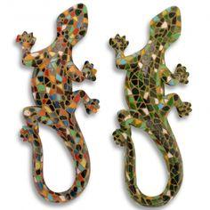 Pair Of Mosaic Finish Lizard Garden Ornaments In Resin Wall Mountable #garden #ornament #mosaic