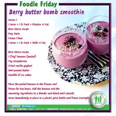 Weigh-Less Best Choice Recipe Banting Diet, Banting Recipes, Best Weight Loss Foods, Weight Loss Meal Plan, Weight Loss Smoothies, Healthy Smoothies, Raspberry Banana Smoothie, Lean Protein Meals, Fun Baking Recipes