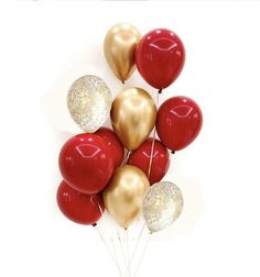 Black And Gold Balloons, Metallic Balloons, Clear Balloons, Gold Confetti Balloons, Red Party Decorations, Birthday Decorations, Red Balloon, Balloon Bouquet, Red Birthday Party