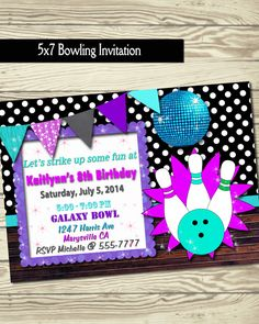 Bowling invitation / birthday party / bowling by LoveLeeDesigns1, $12.00