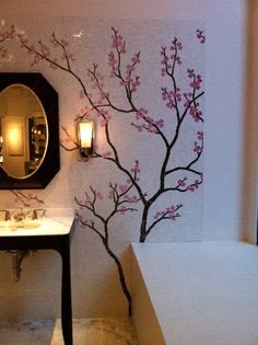 ann sacks sakura cherry blossom tile mural $140/sf (?) - Could paint this easily...
