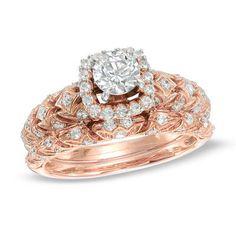 1 CT. T.W. Diamond Frame Vintage-Style Bridal Set in 14K Rose Gold