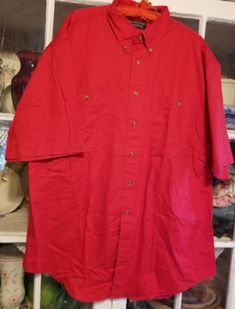 Men-039-s-Roundtree-amp-Yorke-Red-Button-Front-Shirt-Oversized-Relaxed-Fit-XL-NWT