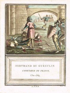 Bertrand du Guesclin - Connétable de France sous Charles V - l'An 1364 - aquatinte par Mixelle - MAS Estampes Anciennes - Antique Prints since 1898