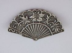Vintage silver fan brooch
