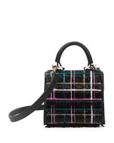 L0QP5 Les Petits Jouers Micro Alex Disco Tartan Top-Handle Bag, Black/Multi