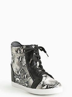 Plus Size Snake Print Wedge Sneakers (Wide Width), ANIMAL