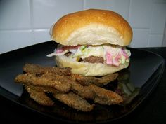 #Southwest Green Chili Burgers: Delish!  Except I used Havarti cheese    http://tracksandloops.weebly.com/