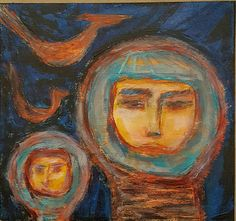 Outsider Art Brut Painting Primitive Astronauts GROENING