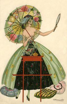 Vintage Art Deco Illustration by Brunelleschiu Art Vintage, Vintage Artwork, Vintage Posters, Vintage Paintings, Vintage Pearls, Moda Art Deco, Art Nouveau, Art Deco Artists, Art Deco Illustration