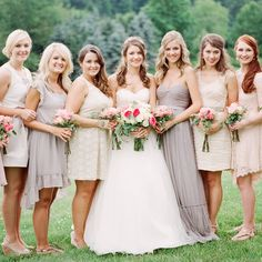 Neutral-Color Mich-Matched Bridesmaid Dresses // Heather Payne Photography // http://www.theknot.com/weddings/album/a-natural-elegant-wedding-in-banner-elk-nc-143953