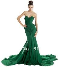 Custom Made 2013 New Arrival Sweetheart Ruched Court Train Emerald Green Evening Dresses Long BO3605(China (Mainland))