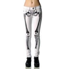 Kreepsville 666 Skelebone Jeans ❤ liked on Polyvore featuring jeans, pants, bottoms, leggings, calças et kreepsville 666