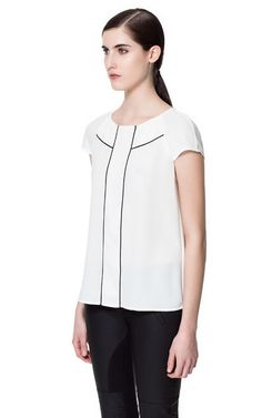 TOP WITH CONTRASTING PIPING - Shirts - Woman - ZARA Switzerland