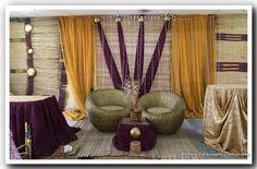 Traditional Nigerian Wedding stage, Purple and matte Gold, yum. Nigerian Traditional Wedding, Traditional Wedding Decor, Gold Wedding Decorations, Wedding Themes, Wedding Backdrops, Altar Decorations, Decorating With Pictures, Decoration Pictures, The Wedding Singer