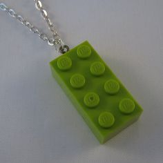 Lime Green Brick pendant made from Lego brick by MooseintheMint