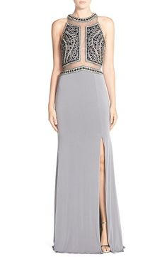 JVN BY JOVANI JVNby JovaniEmbellished Illusion Bodice WovenGown available at #Nordstrom