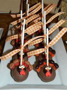 Turkey Cake Pops at Thanksgiving Mini Dessert Buffet #thanksgiving #desserts  #thanksgiving #crafts #thanks #ideas #turkey #pilgrims #fathers #kids #stuffings #dishes #pumpkin #carving #pumpkincarving #kids #mom #dad #homedecor #candles#treat #food #goodfood #yummy #recipes #recipe #candy #sweet #candies #sweets #cookie #cookies
