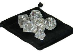 Wiz Dice 7 Die Polyhedral Set Sparkle Vomit Translucent Glitter With Dice Bag #WizDIce