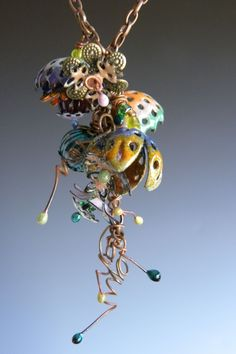 Barbara Lewis Floral Cascade Workshop ... create fantasy flowers, enamel head pins, Torch fired enamel twisty tendrils ...
