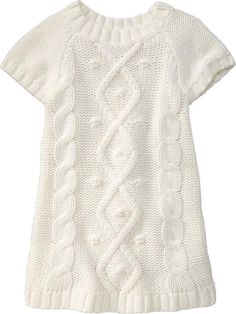 Cable-Knit Sweater Dresses for Baby branco Cable Knit Sweater Dress, Knit Baby Dress, Cable Knit Sweaters, Sweater Dresses, Diy Crafts Dress, Diy Dress, Girls Sweaters, Baby Sweaters, Knitting For Kids