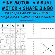 Looking for a fun way to practice fine motor skills that use similar lines to letters? Check out fine motor SHAPE bingo! This features 28 different shapes on 24 bingo cards! Perfect for small group or whole class! #occupationaltherapy #OT #autism #SPD #schoolot #SLP #fun #sensoryprocessing #sped #spedteacher #empoweringot #therapy #specialneeds #cota #schoolcota #rti #mtss #visualmotor #finemotor #activitiesforkids #specialeducation #PT #pediatricot #peds #kidsot #ADHD #sensory
