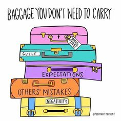 Some days, we carry around our emotional baggage every where we go. The baggage of guilt, negativity, and the expectations of others are not ours to carry. Gently examine what's in your suitcase today and unload that extra weight holding you down. Motivacional Quotes, Life Quotes, Motivation, Leadership, Affirmations, Mental Health Quotes, Coping Skills, Stress Management, Self Esteem