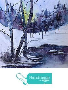ORIGINAL painting watercolor painting original WATERCOLOR Birch Tree Art from Maine ARTist http://www.amazon.com/dp/B019NKSQ2G/ref=hnd_sw_r_pi_dp_yRUFwb1M6R1WX #handmadeatamazon