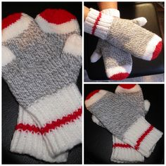 Sock Monkey Mittens pdf pattern,Afterthought thumb, true north knitting, mittens, Original DesignEnglish Only available - SOCKEN STRICKEN Knitting Socks, Loom Knitting, Knitting Patterns Free, Free Knitting, Crochet Patterns, Knitted Gloves, Fingerless Gloves, Crochet Mitts, Gilet Crochet