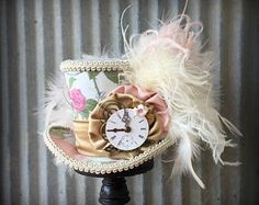 Steampunk Mini Top Hat, Blush Clockwork Hat, Alice in Wonderland Mini Top Hat, Top Hat, Mad Hatter Hat, Mad Tea Party Hat, Beige Roses Hat