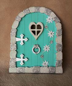 3D Handpainted & Decorated Glitter 'Frozen' Inspired fairy, faerie, elf pixie door - great gift by TheLittleFairydoor on Etsy