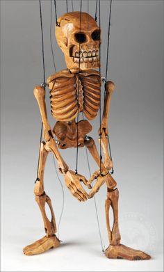 Vintage Restored  Old Handmade Wooden Marionette String Puppet Folk art  Mexican Day of The Dead  El Diablo Devil Skeleton Hand Carved .